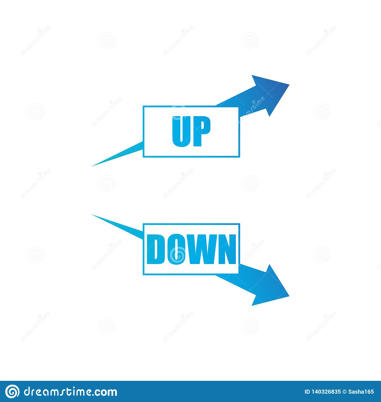 Increasing and decreasing arrow set.blue arrows shows growth and recession business. Flat vector chart concept illustration as an
