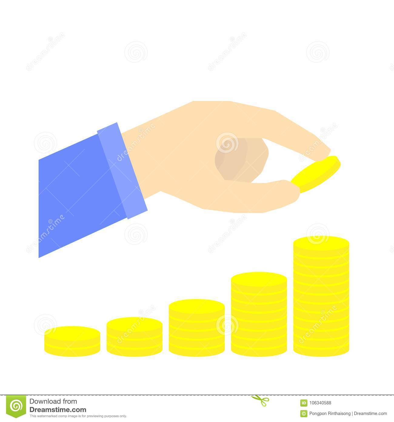 Increasing stack of coin with hand, saving money concept, retirement plan, infographic vector