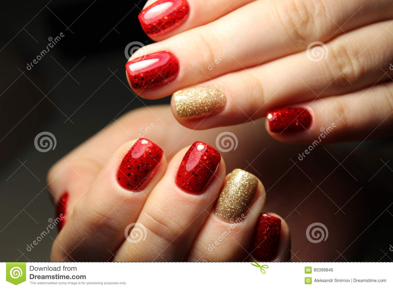 An Incredible Glow Under Red Stained Gel Polish Stock Photo