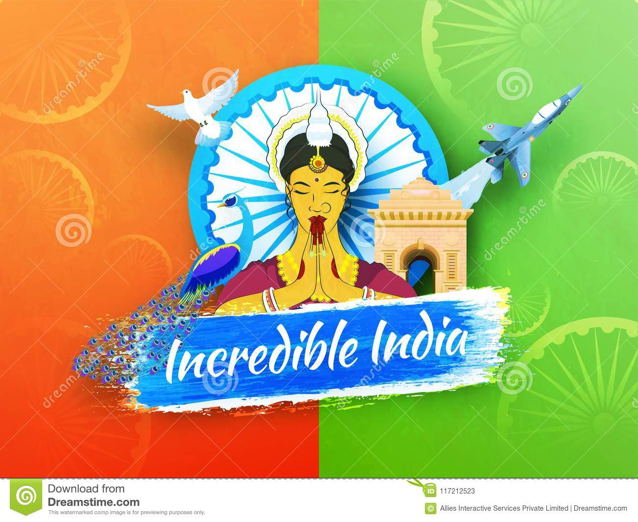 Incredible india text with traditional lady greeting namaste wit incredible india text with traditional lady greeting namaste wit m4hsunfo