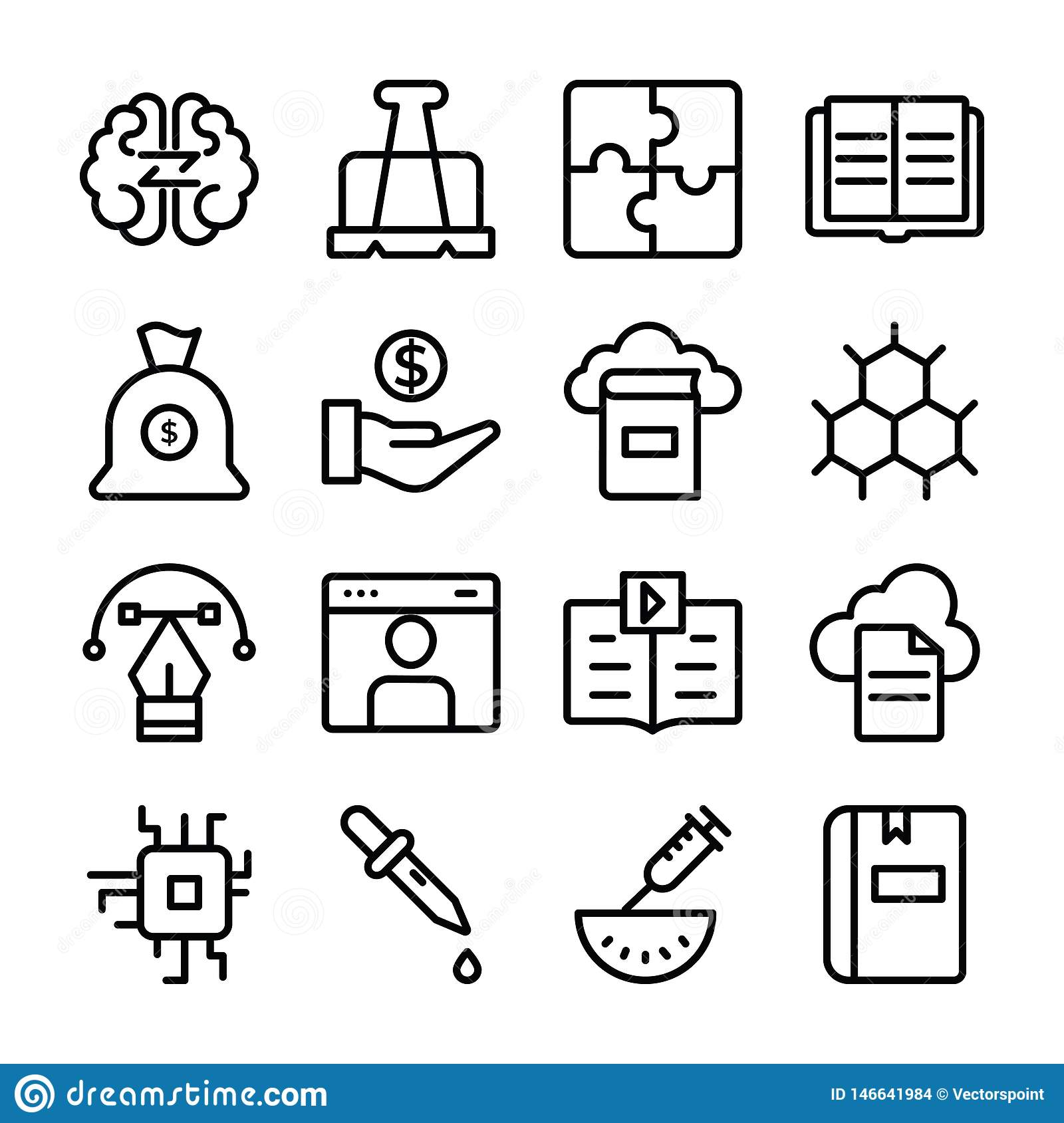 Set of Science and Education Line Icons