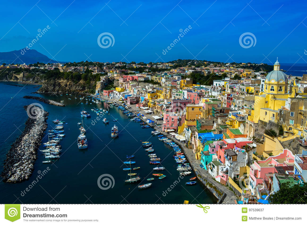Incredible view of the beautiful Procida, Naples, Italy