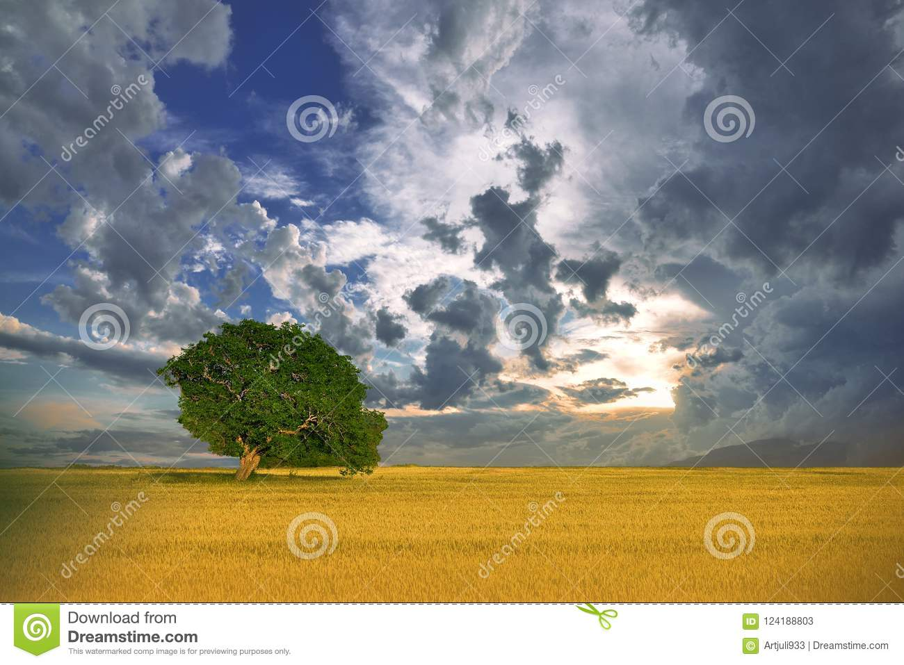 Beautiful Nature.Art Photography.Fantasy design.Creative Background.Amazing Colorful Landscape.Blue Sky,clouds.Panorama,tree.