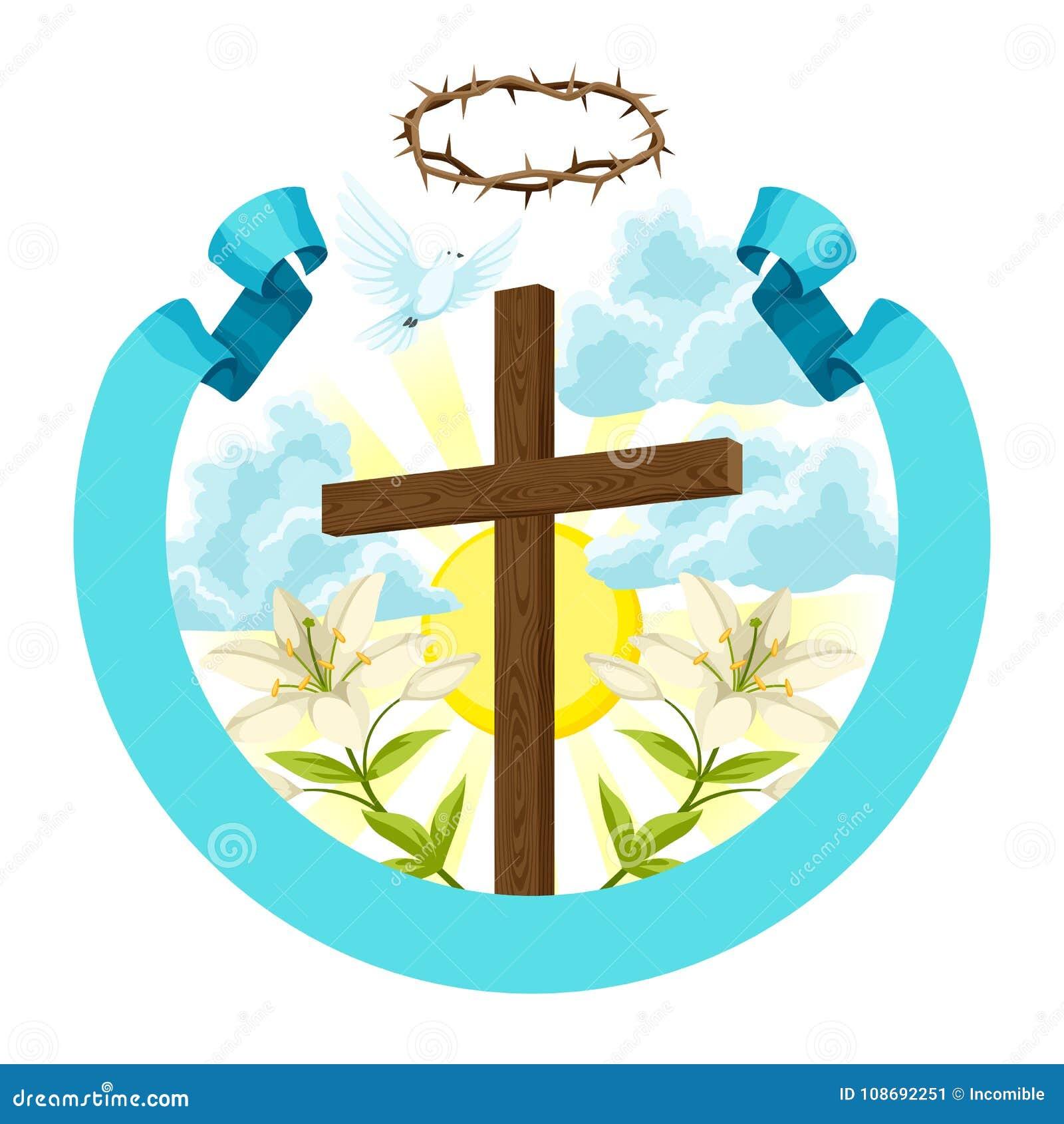 Incrocio di legno con le spine, il giglio e la colomba Cartolina d auguri felice dell illustrazione o di concetto di Pasqua Simbo