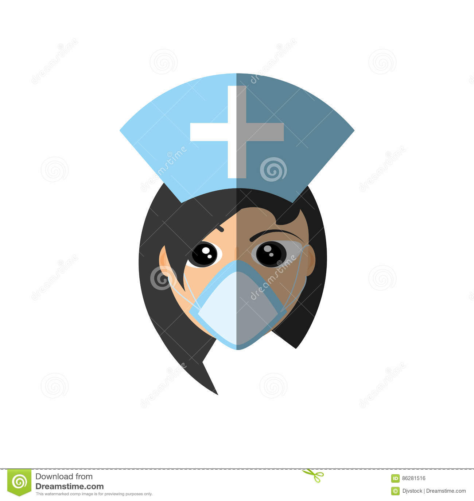 Incrocio medico del cappuccio della maschera femminile di medico