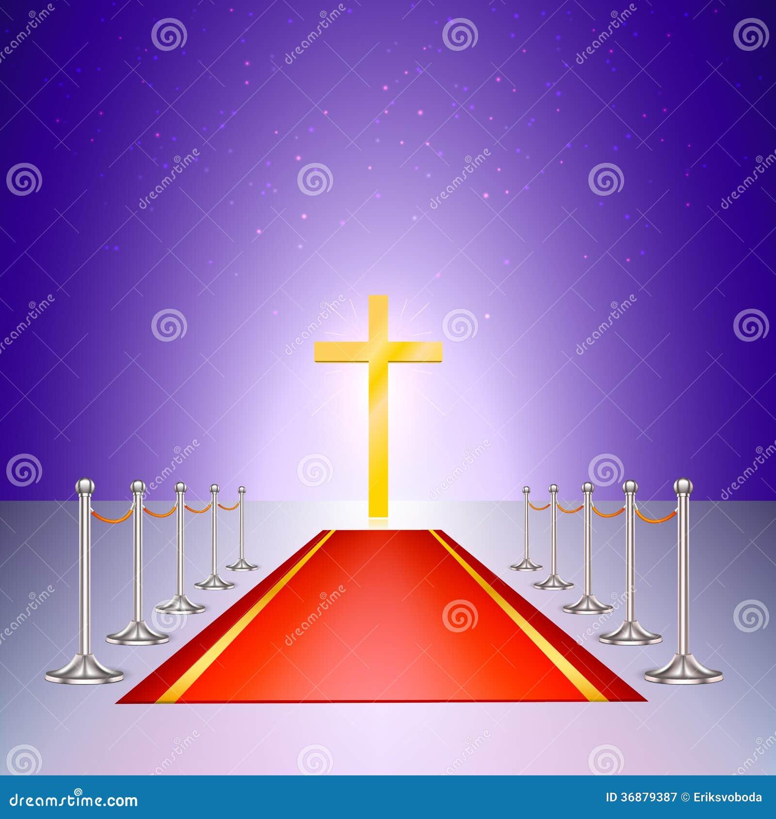 Download Incrocio, Tappeto Rosso E Recinzione Dell'oro Del Cromo Illustrazione Vettoriale - Illustrazione di celebrazione, credenza: 36879387