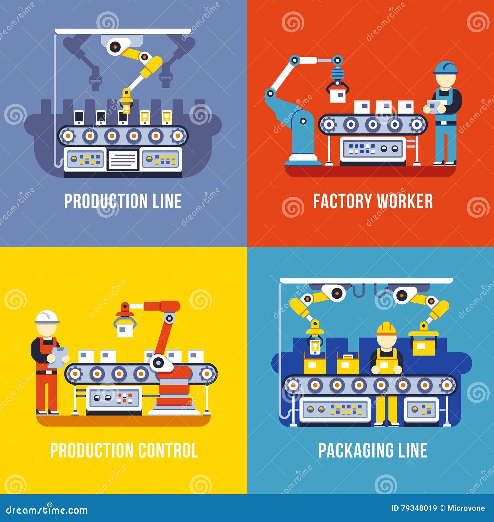 Indústria de transformação, linha de produção, conceitos lisos do vetor do operário ajustados