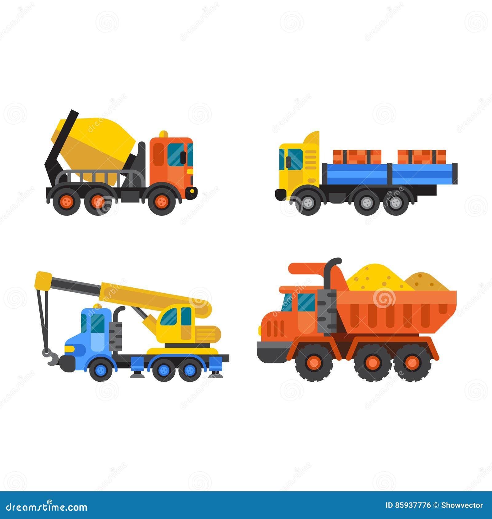 A indústria do caminhão de caminhão basculante e do guindaste de construção vector a ilustração