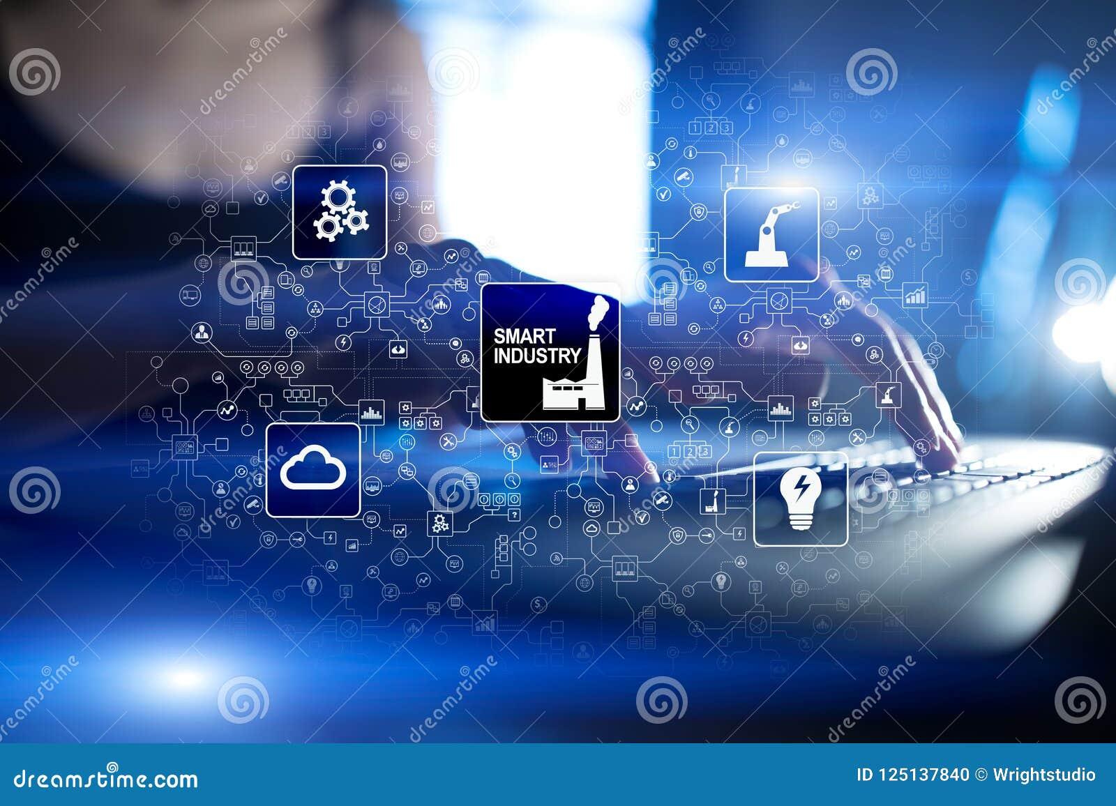 Indústria esperta Inovação industrial e da tecnologia Conceito da modernização e da automatização Internet IOT