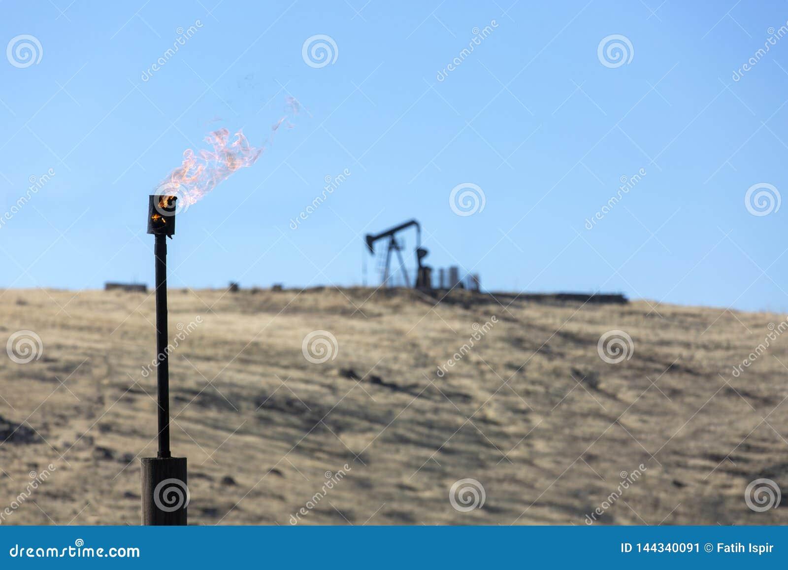 Indústria petroleira de queimadura da chaminé do gás