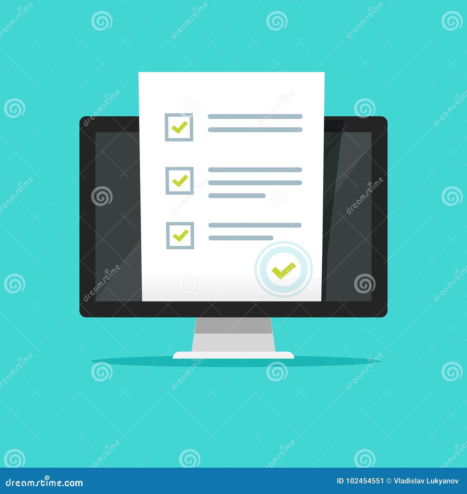 Indagine online della forma sull illustrazione di vettore del computer del pc, esposizione piana del monitor di progettazione del