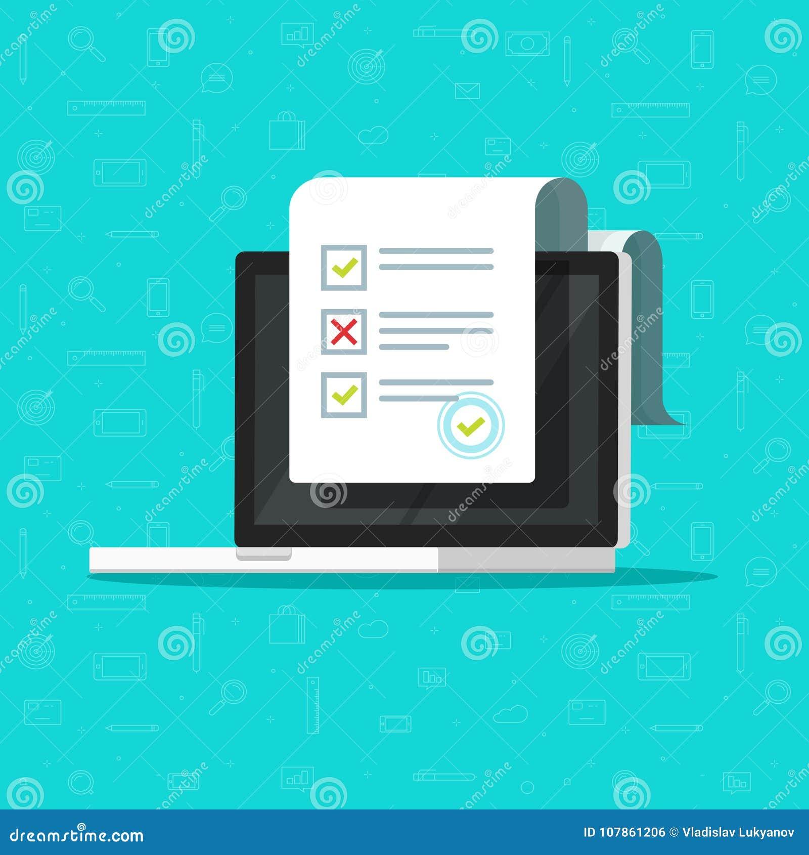 Indagine online della forma sull illustrazione di vettore del computer portatile, computer piano di progettazione del fumetto che