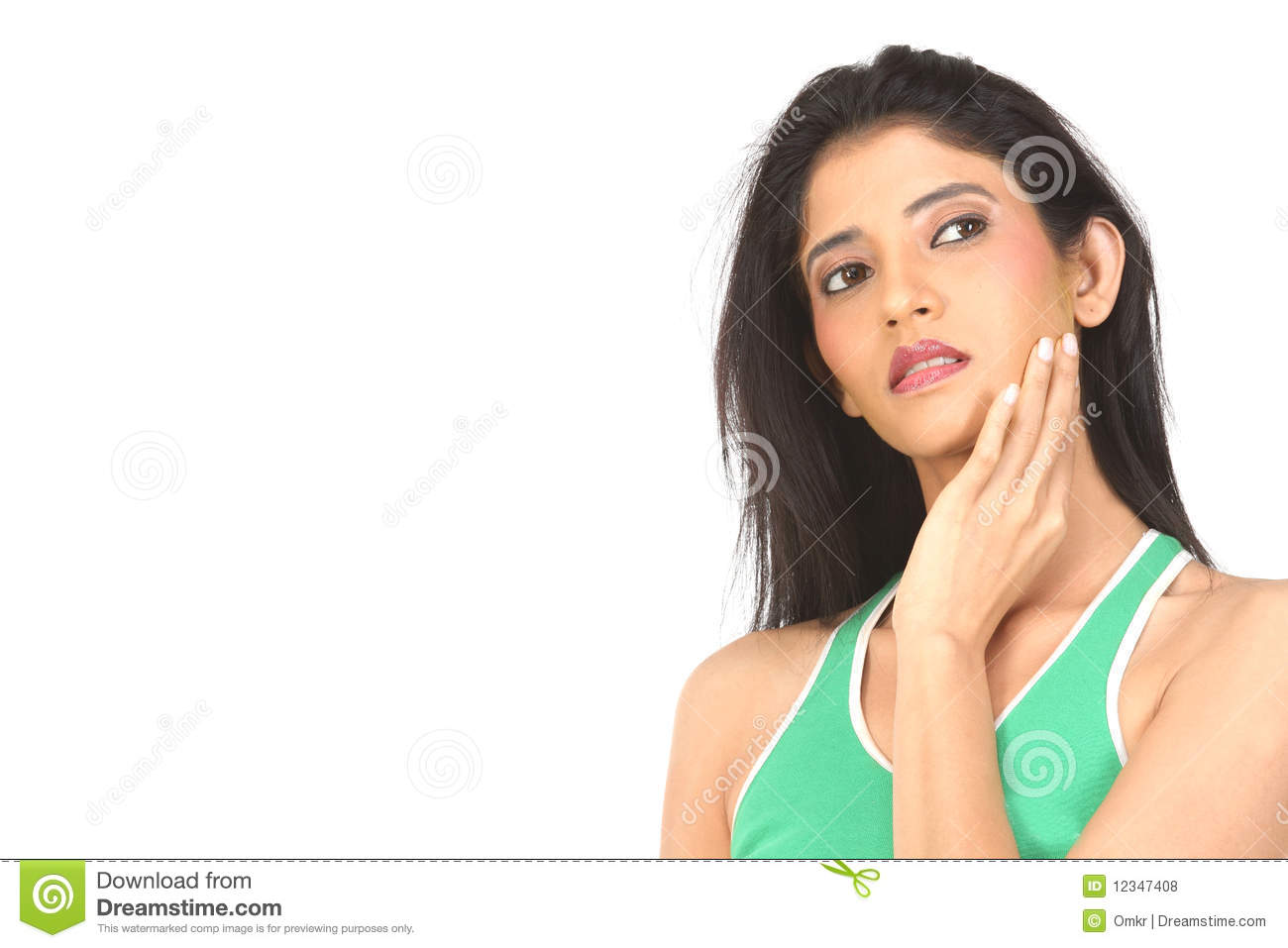 Indan Woman Taking Care of Her Skin Stock Photo   Image of green ...