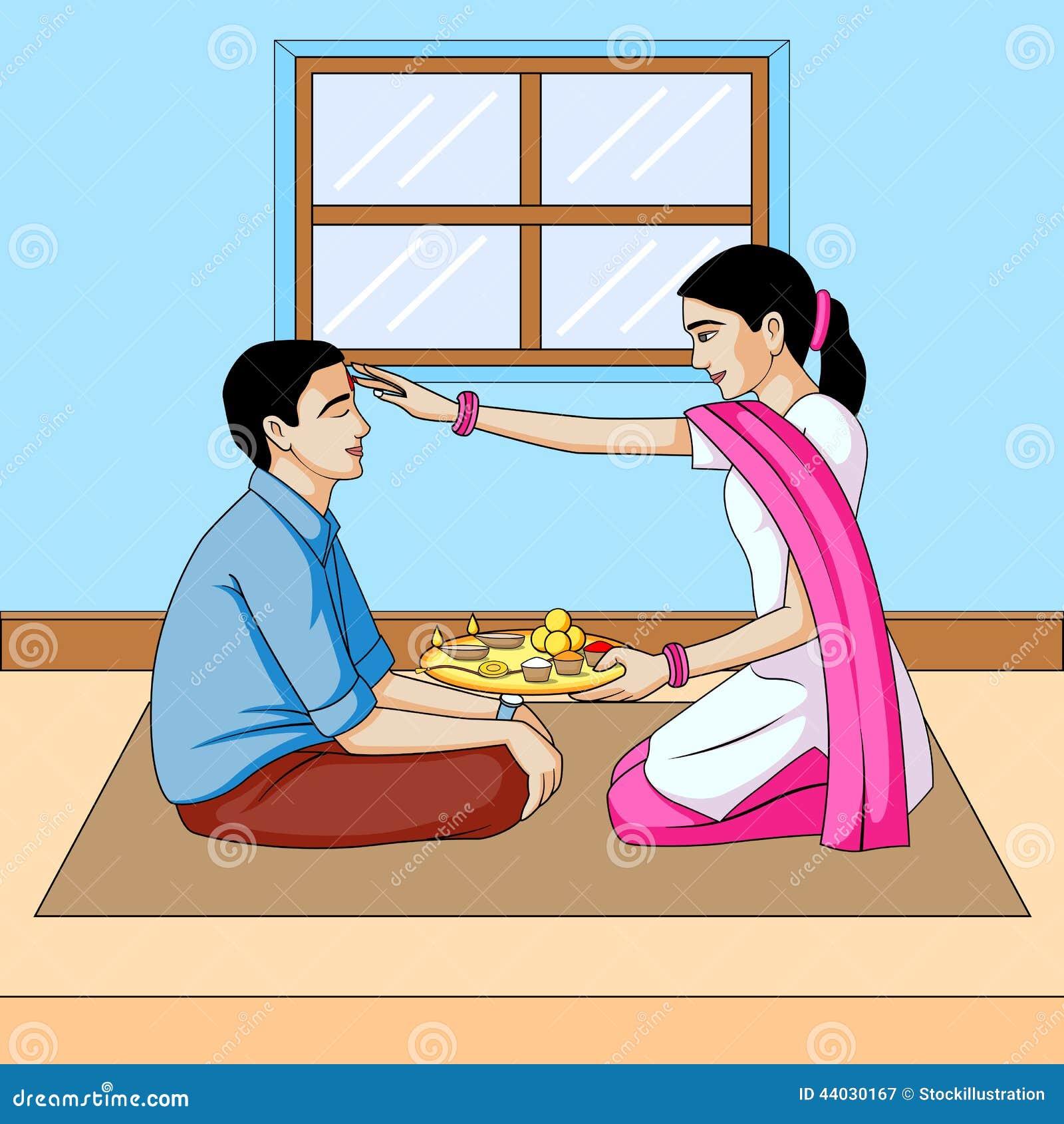 Inde de festival de dooj, de frère et de soeur de Bhai