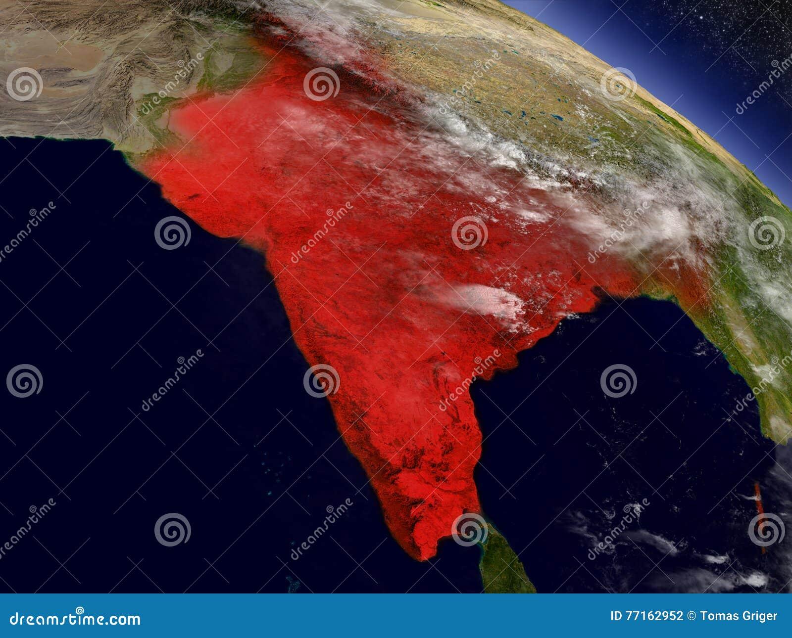 Inde de l espace accentué en rouge