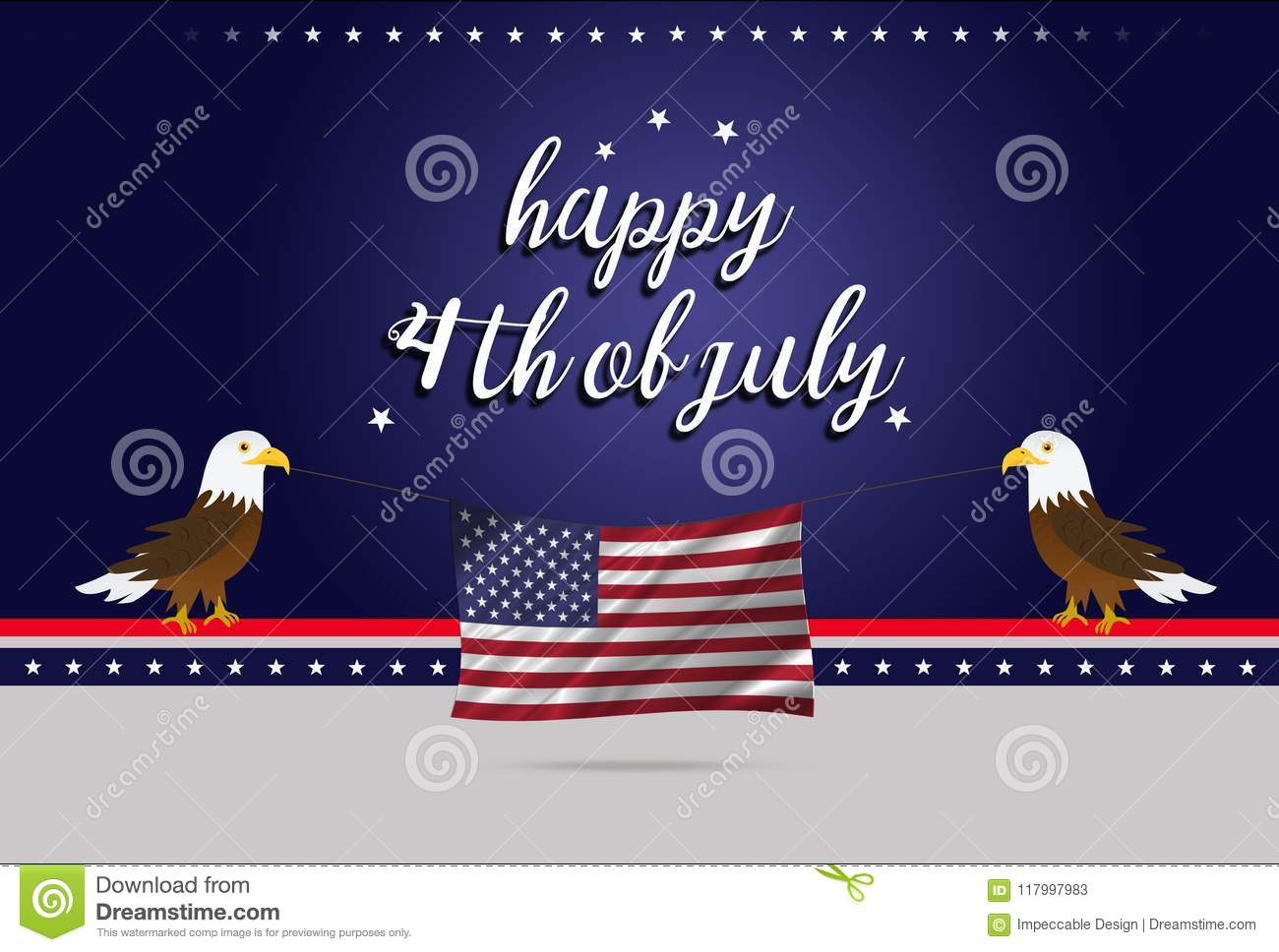 Independence Day Of America 4th July Two Bald Eagles Holding Usa