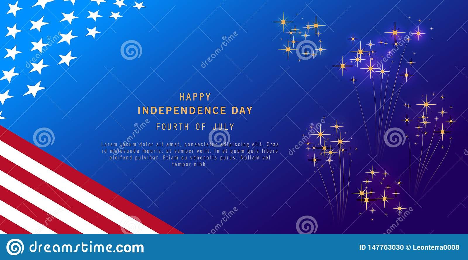 Independence Day background with fireworks and USA flag. Fourth of July celebration banner, poster, flyer, greeting card design.