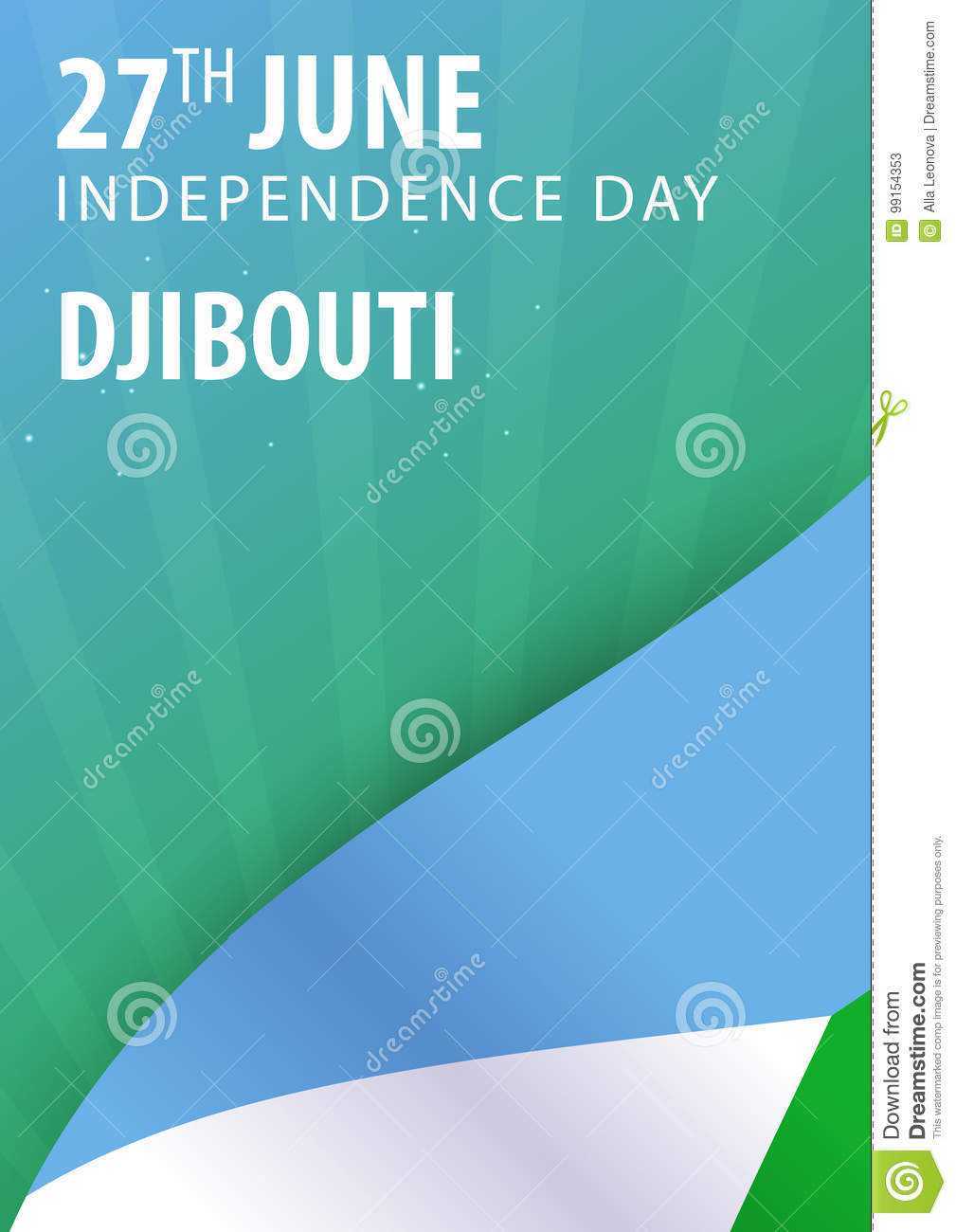Independence day of Djibouti. Flag and Patriotic Banner.