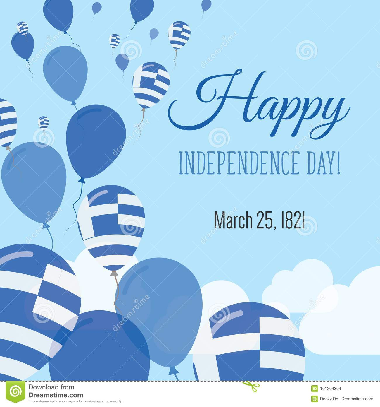 Independence day flat greeting card stock vector illustration of independence day flat greeting card greece independence day greek flag balloons patriotic poster happy national day vector illustration m4hsunfo