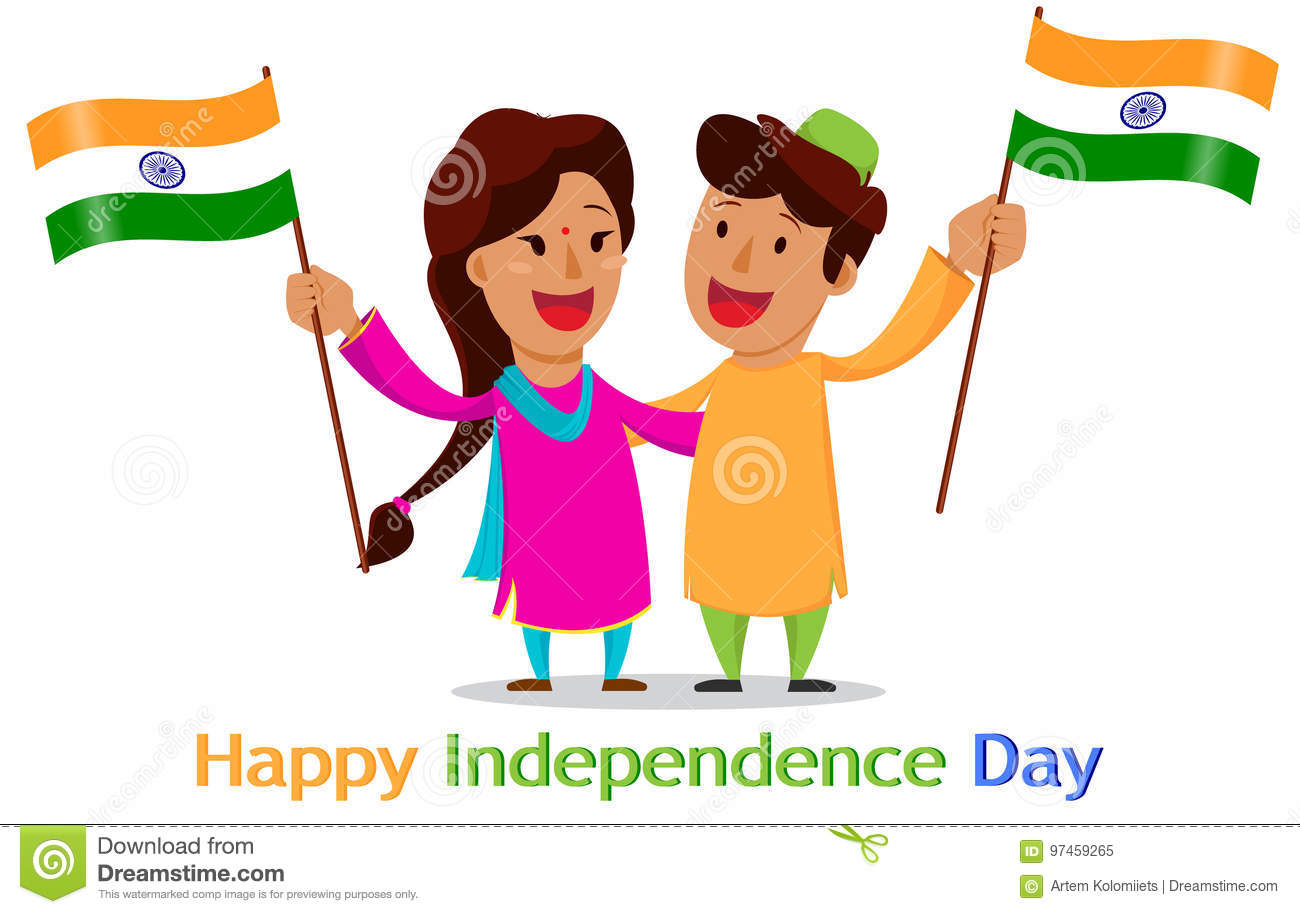 Independence Day In India Greeting Card With Funny Cartoon Char