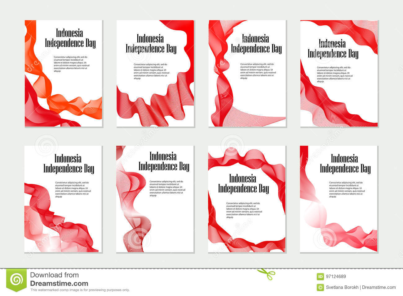 Independence Day Indonesia Set Of Templates Brochures Flyers For