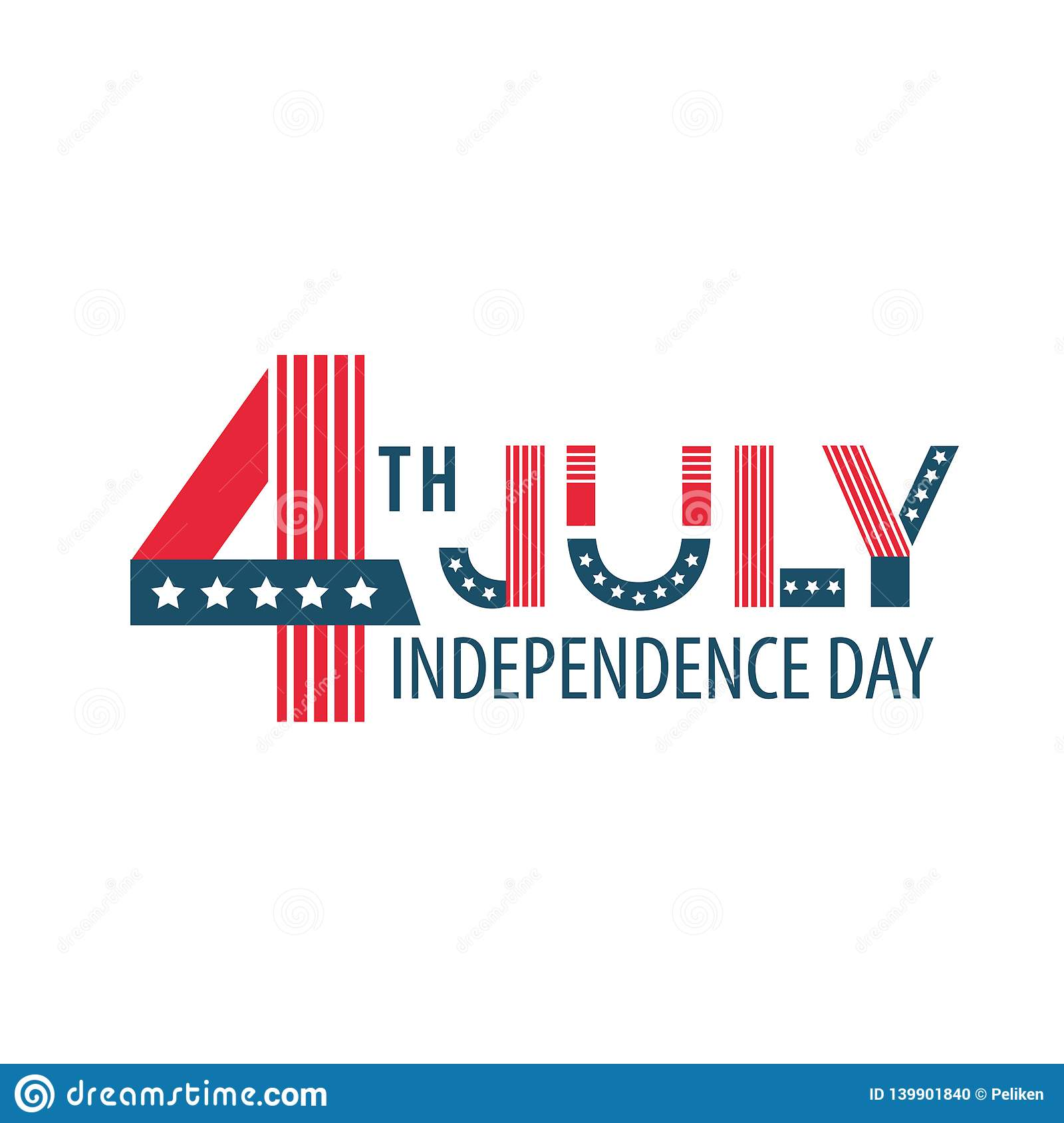 Independence Day of the United States poster, Fourth of July federal holiday, typical festivity card . America flat