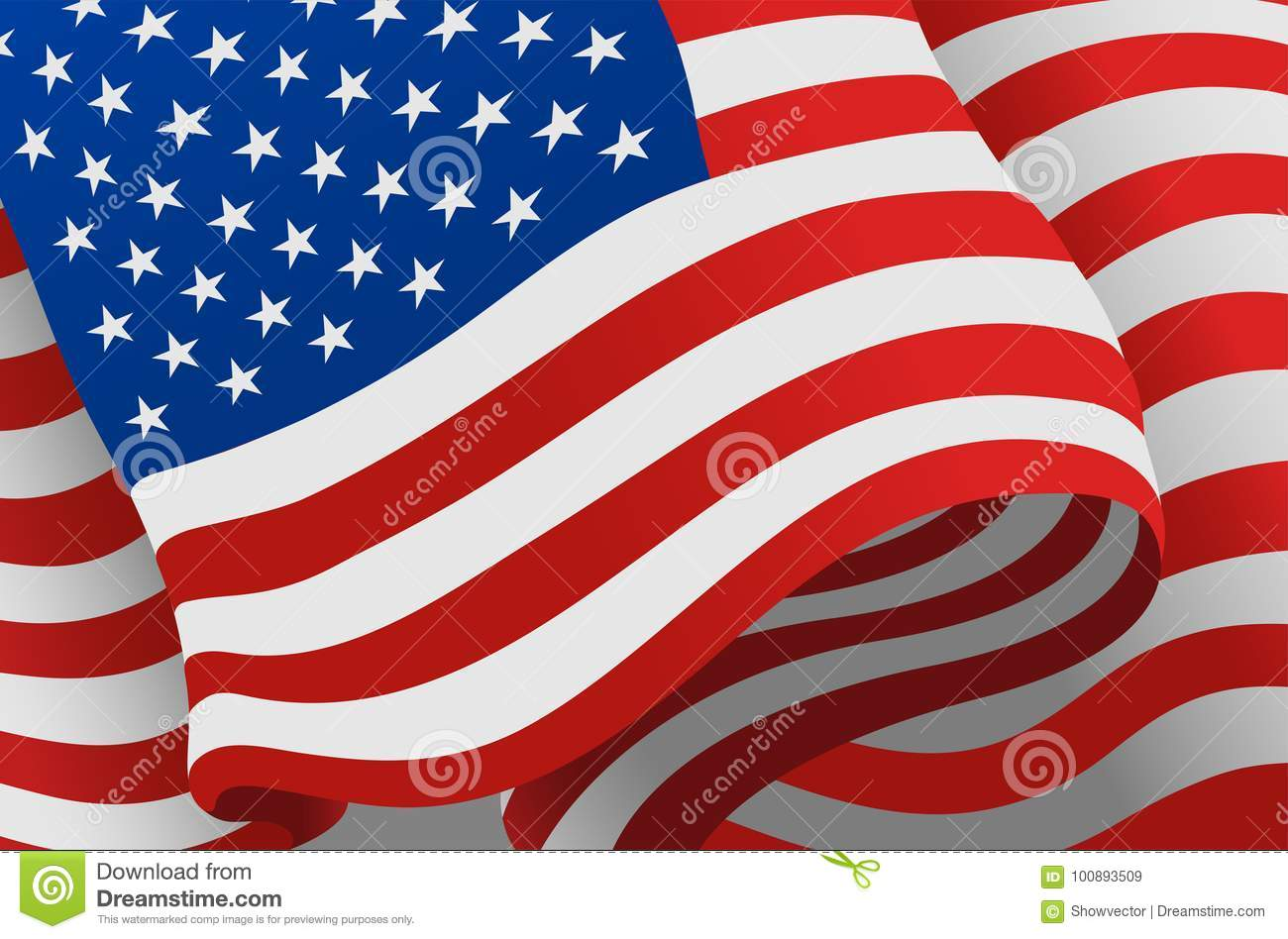 e8d34734fbc0 Independence day USA flags United States american symbol freedom national  sign vector illustration. Wavy patriotic banner shape celebration holiday  symbol.