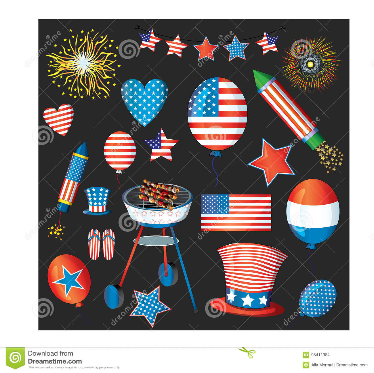 Independence day vector pack. Fourth of july fireworks. USA flag, cylinder hat, balloons, star, hearts, flip flop. AI.