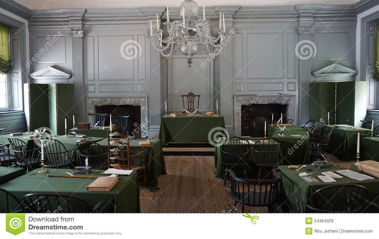 Restored Assembly Room With Rising Sun Chair Of George Washington At The  Independence Hall In Philadelphia
