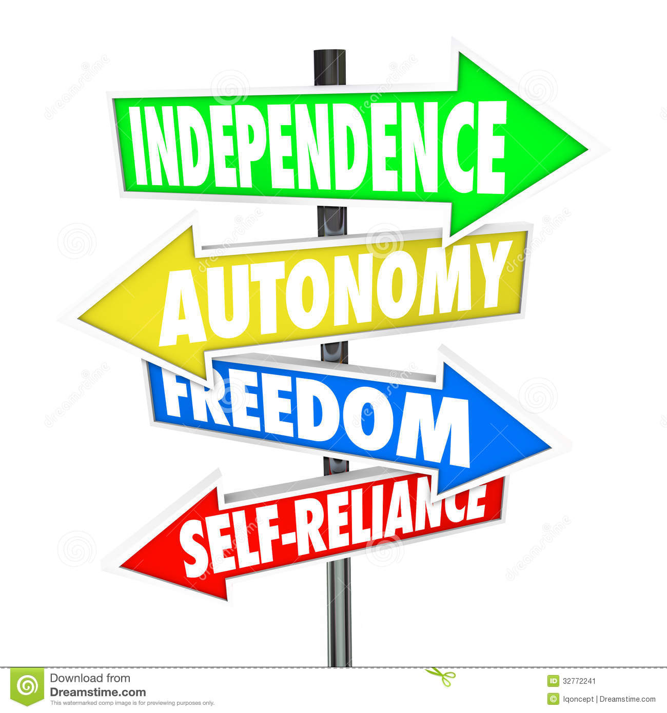 The words Independence, Autonomy, Freedom and Self-Reliance on four ...