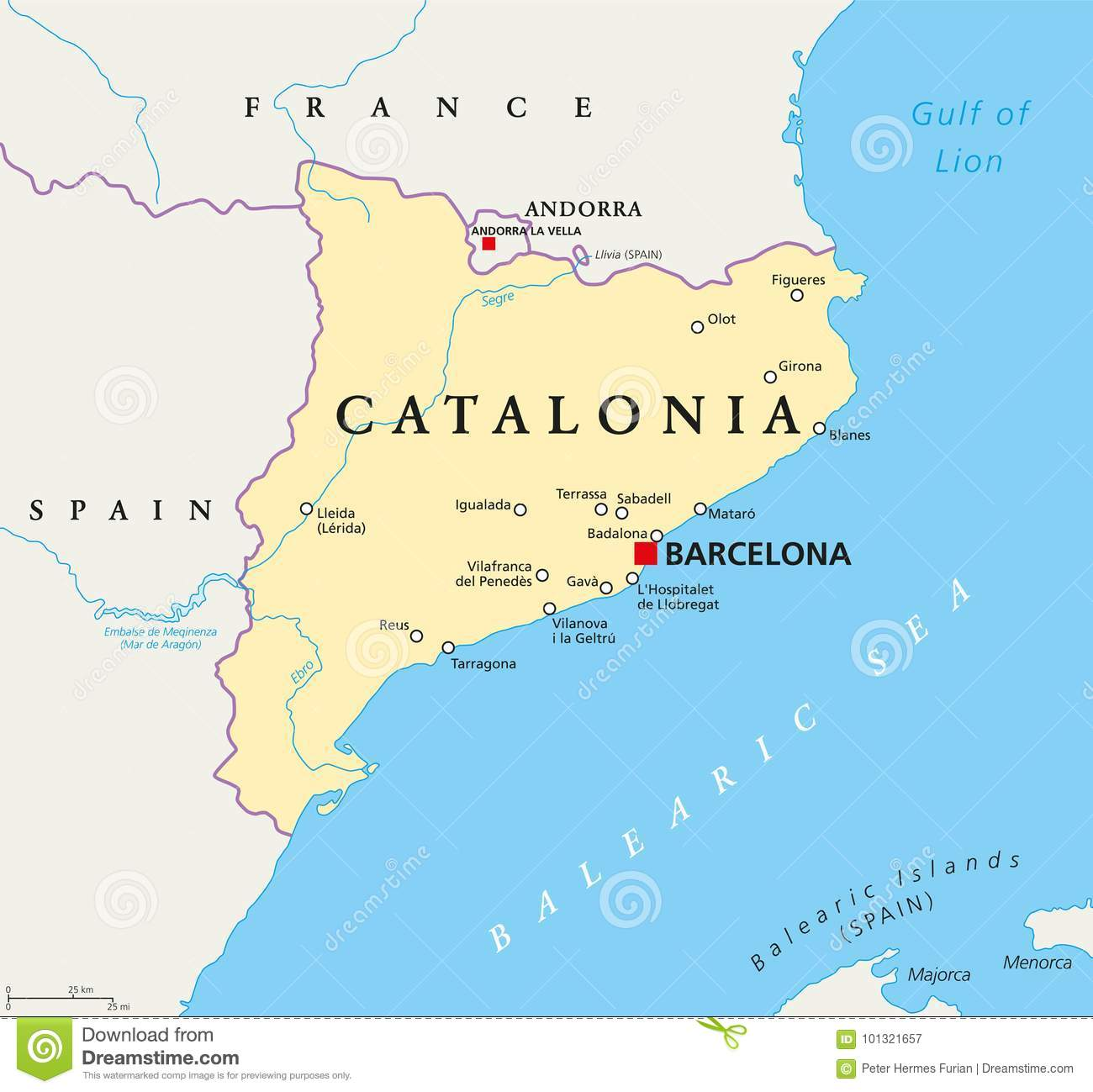 Independent Catalonia Political Map Stock Vector Illustration Of