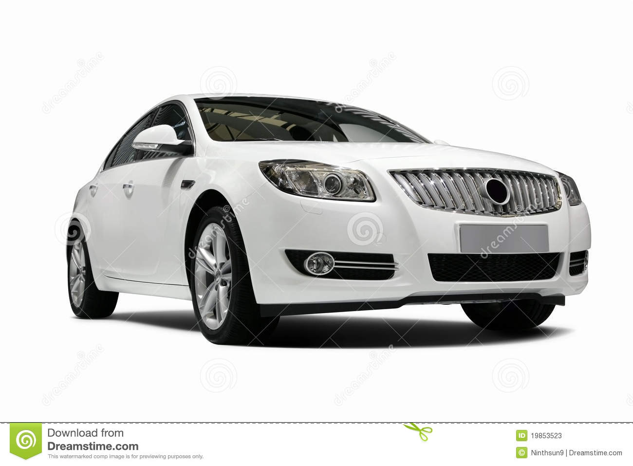 A Independent White Static Car In White Background Stock