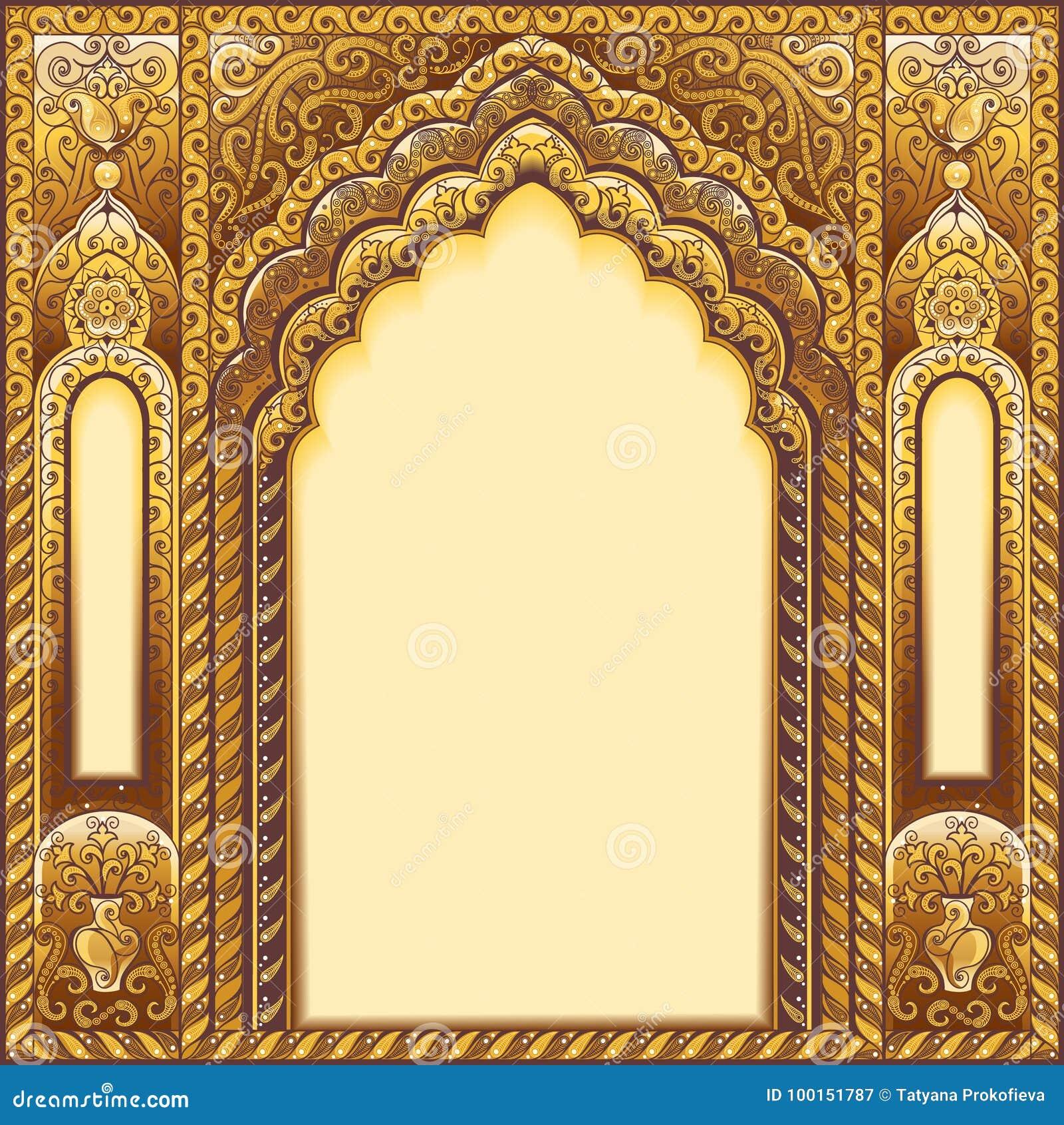 Inder verzierter Bogen Farbgold