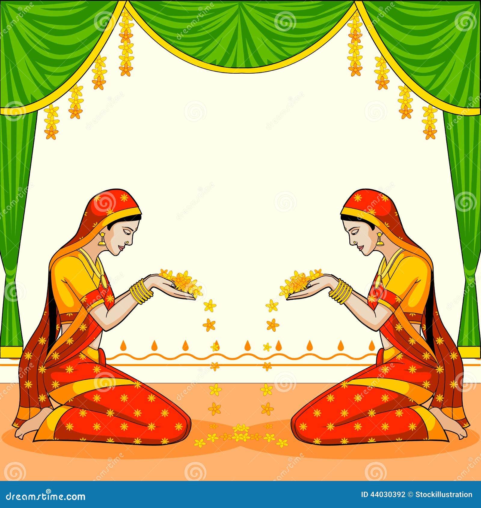 Indiańska kobieta wita z kwiatem