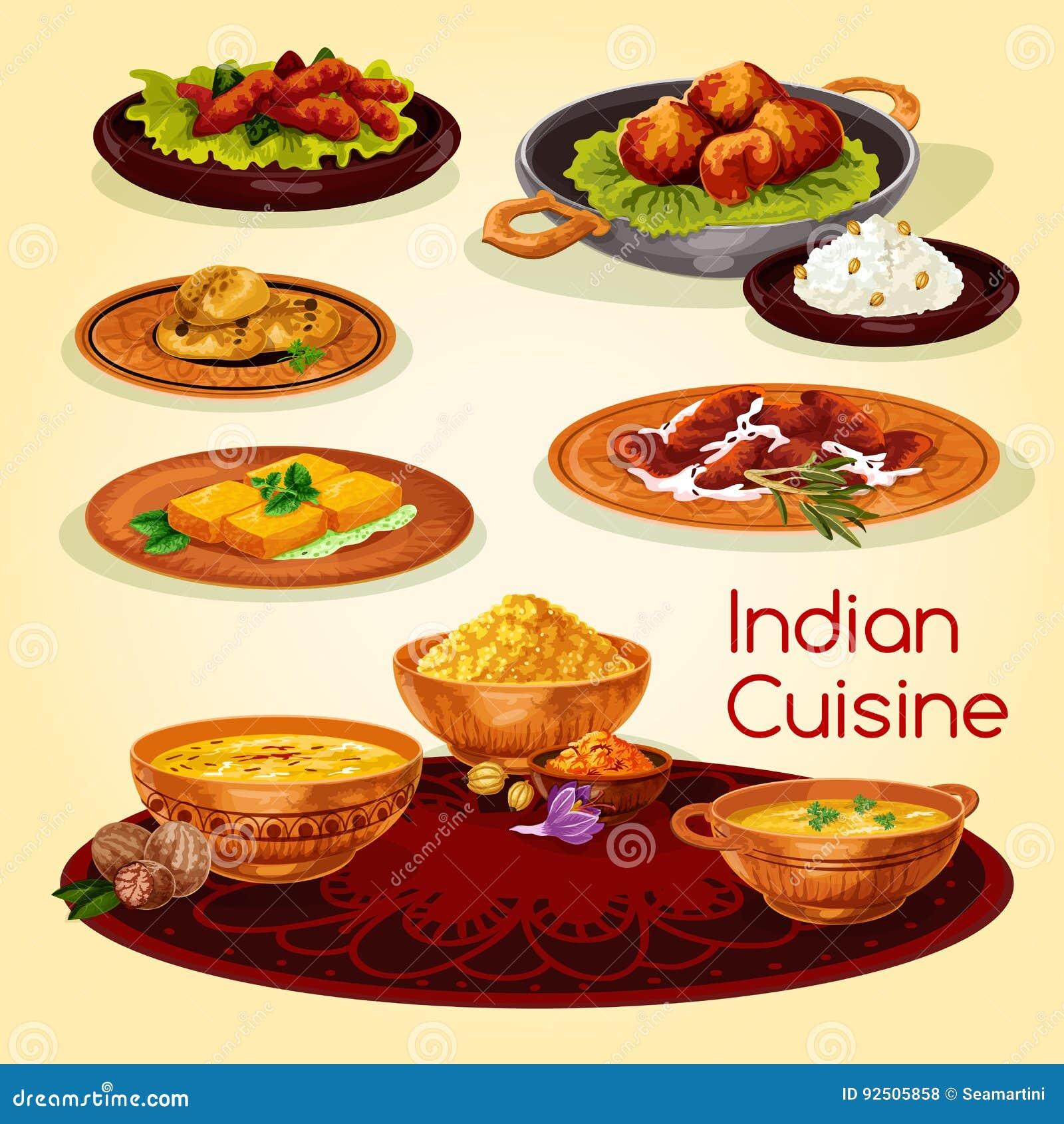 Indiański Kuchnia Gość Restauracji Rozdaje Kreskówka Menu