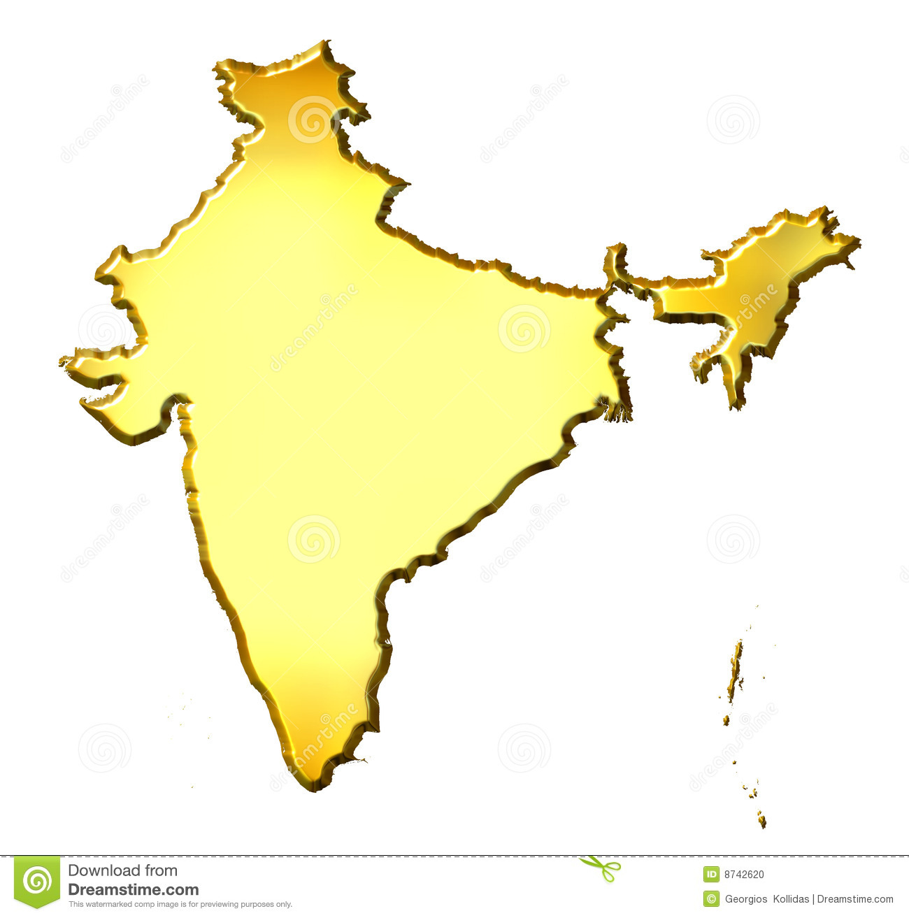 India 3d Golden Map Stock Photo Image 8742620