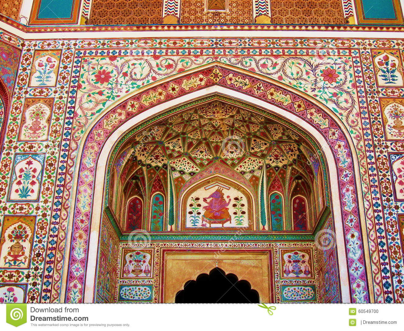 India architecture colorful wall mural painting stock for Wallpaper for home walls jaipur