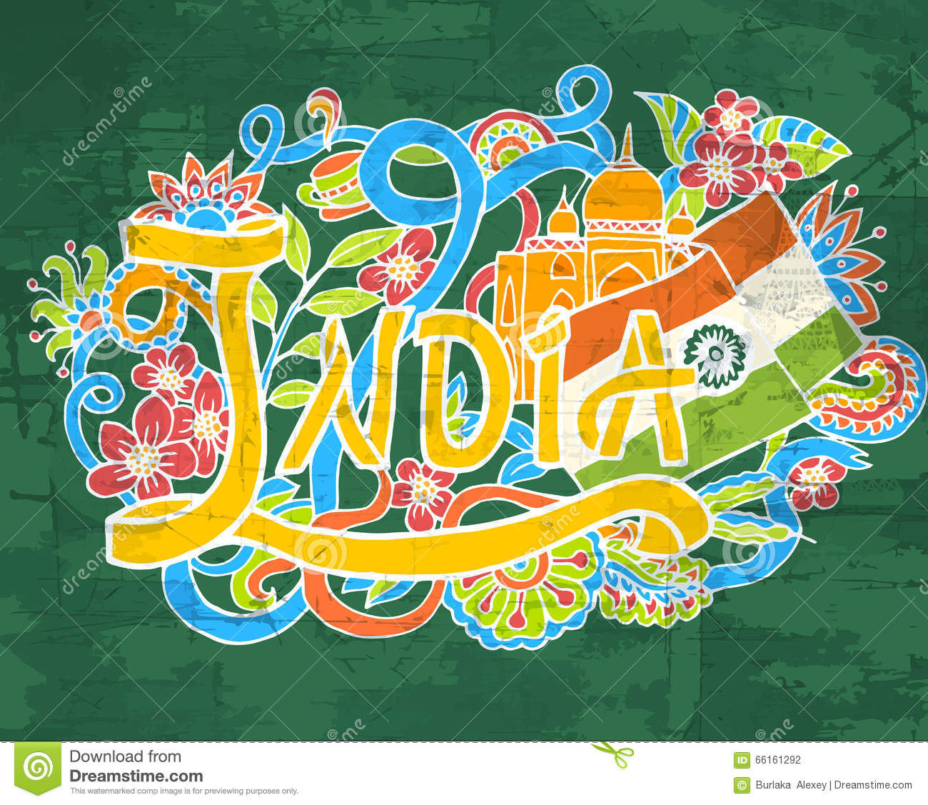 India Art Abstract Hand Lettering And Doodles Elements Background ...