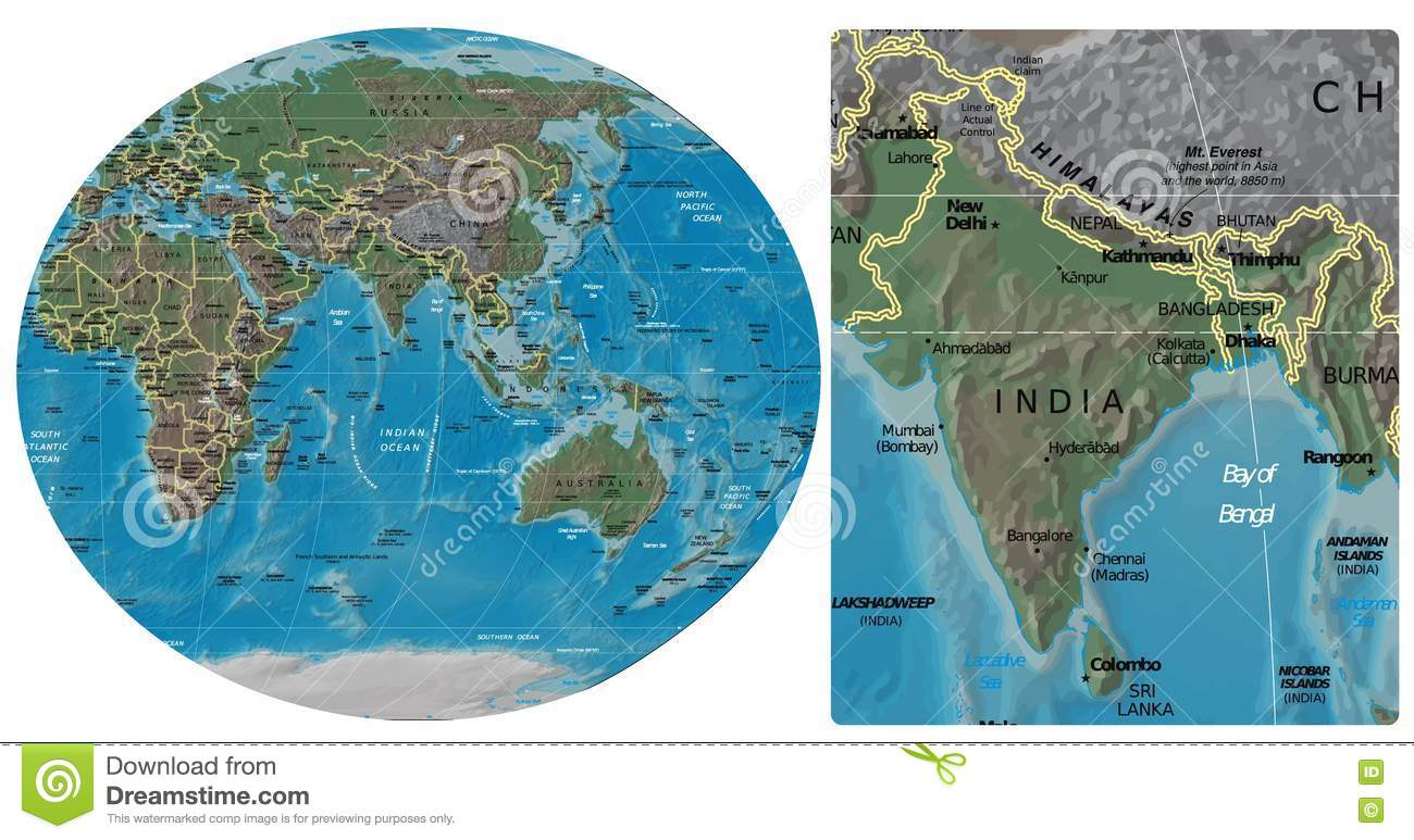 India In Asia Map.India And Asia Oceania Maps Stock Illustration Illustration Of