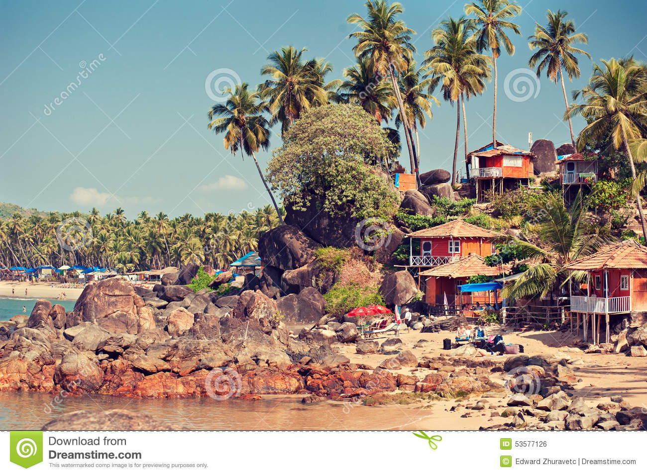 India goa palolem beach view on the old bungalows