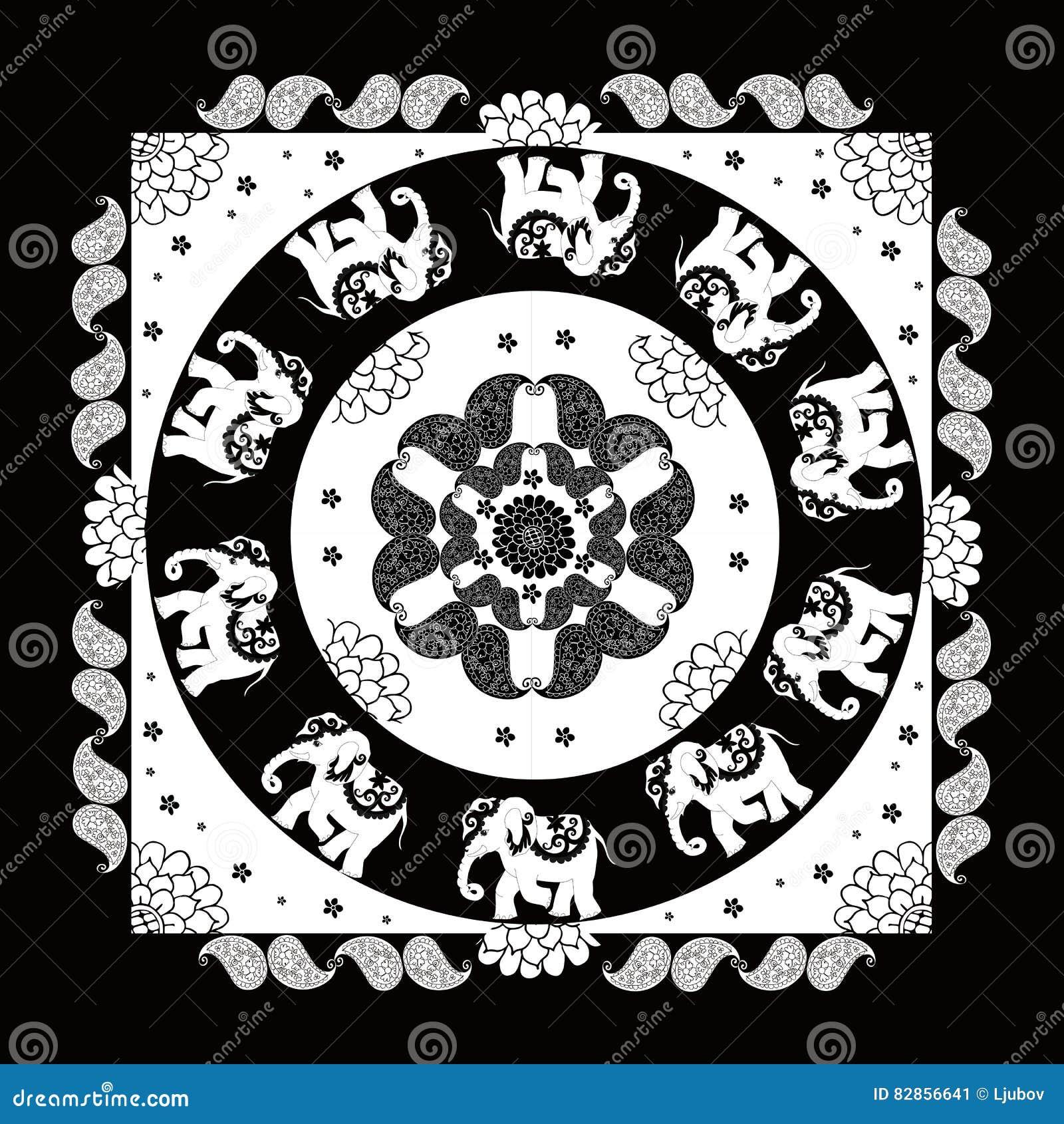 India Black White Ethnic Bandana Print Beautiful Flowers Paisley Elephants Summer Kerchief Square Pattern Design 82856641