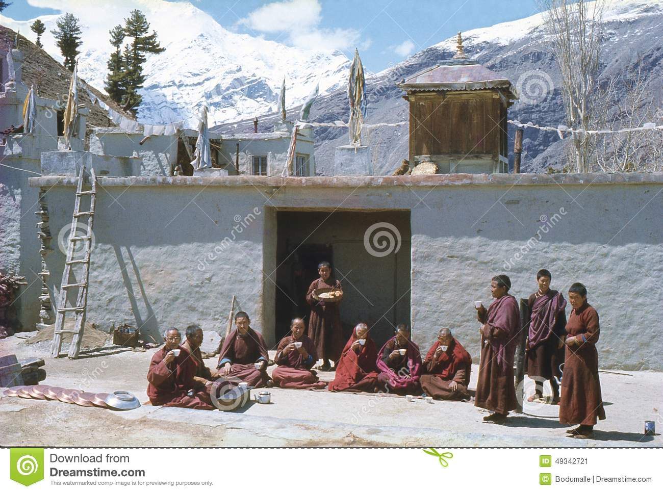 1977. India. Buddhist nuns and monks at Kardang-Gompa.