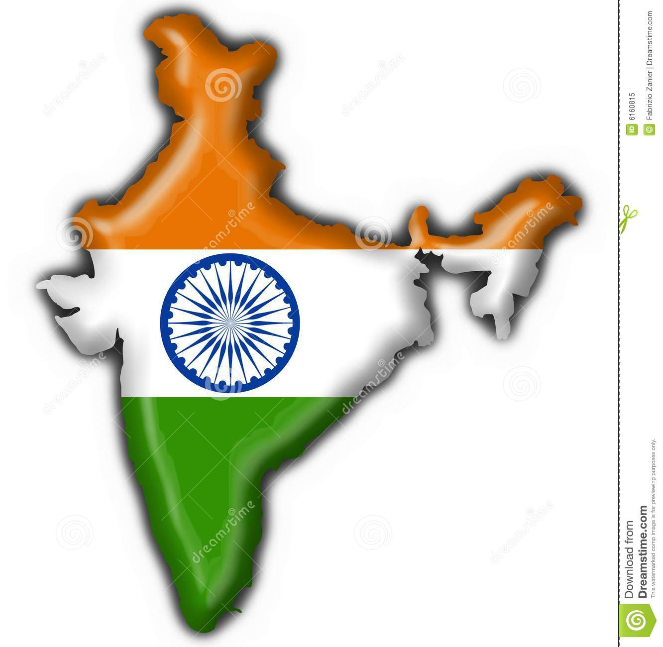 India Button Flag Map Shape