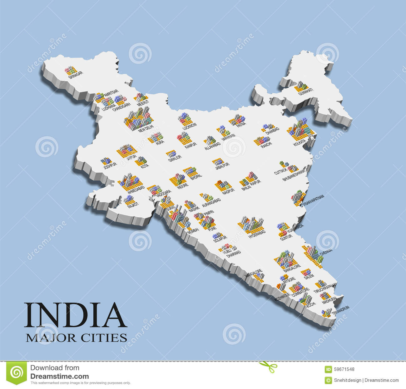 An Illustration Of India Map With Major City Population Shown In Bars