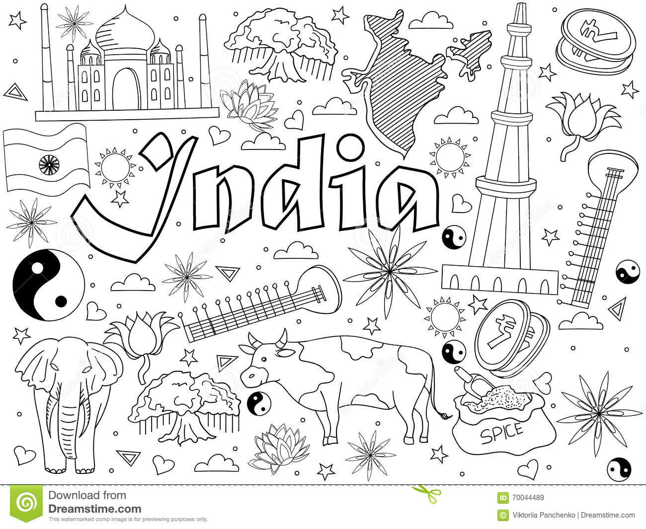 India Coloring Book Vector Illustration Stock Vector