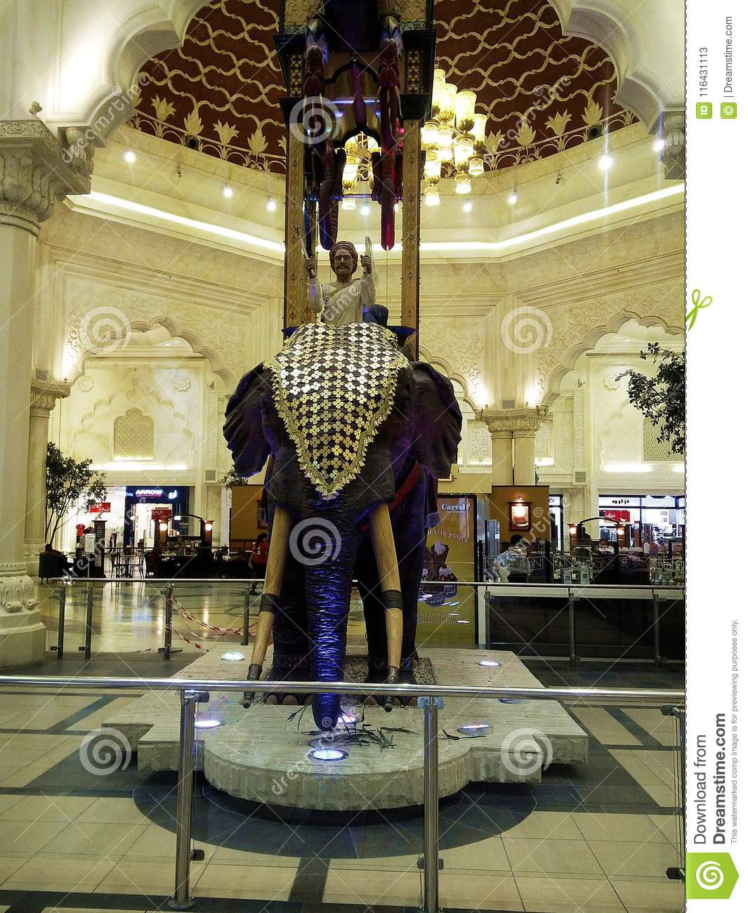 India Court With Elephant Statue At IBN Battuta Mall