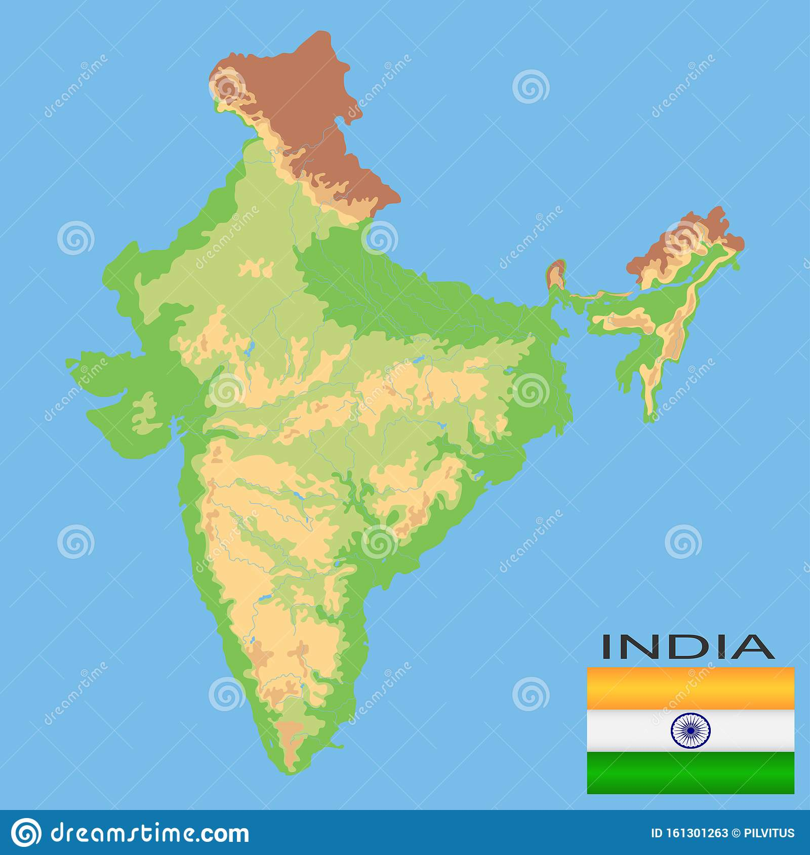 Picture of: India Detailed Physical Map Of India Colored According To Elevation With Rivers Lakes Mountains Vector Map With Stock Vector Illustration Of Environment National 161301263