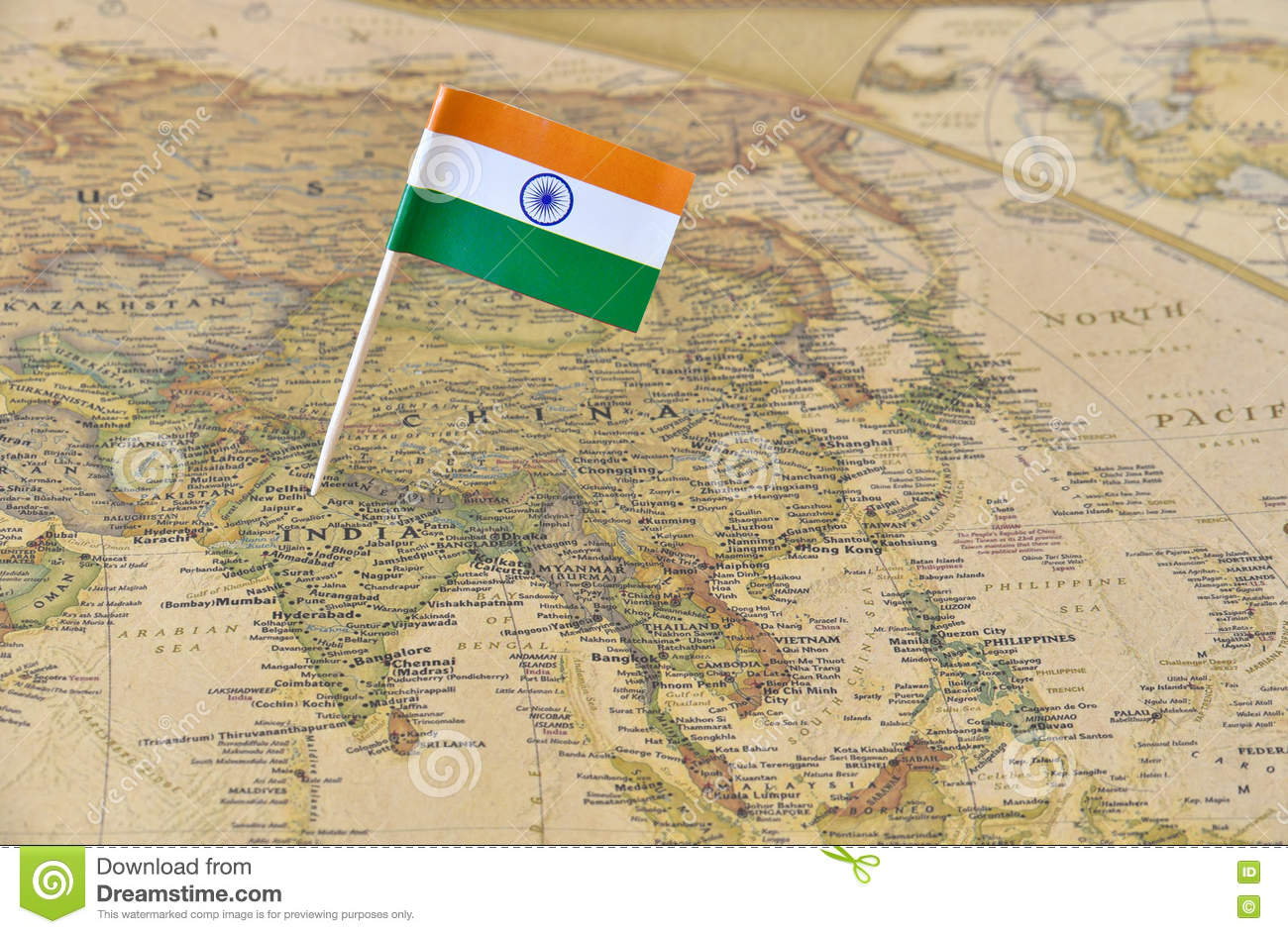 India flag pin on map stock photo image of detailed 75802900 royalty free stock photo gumiabroncs Images