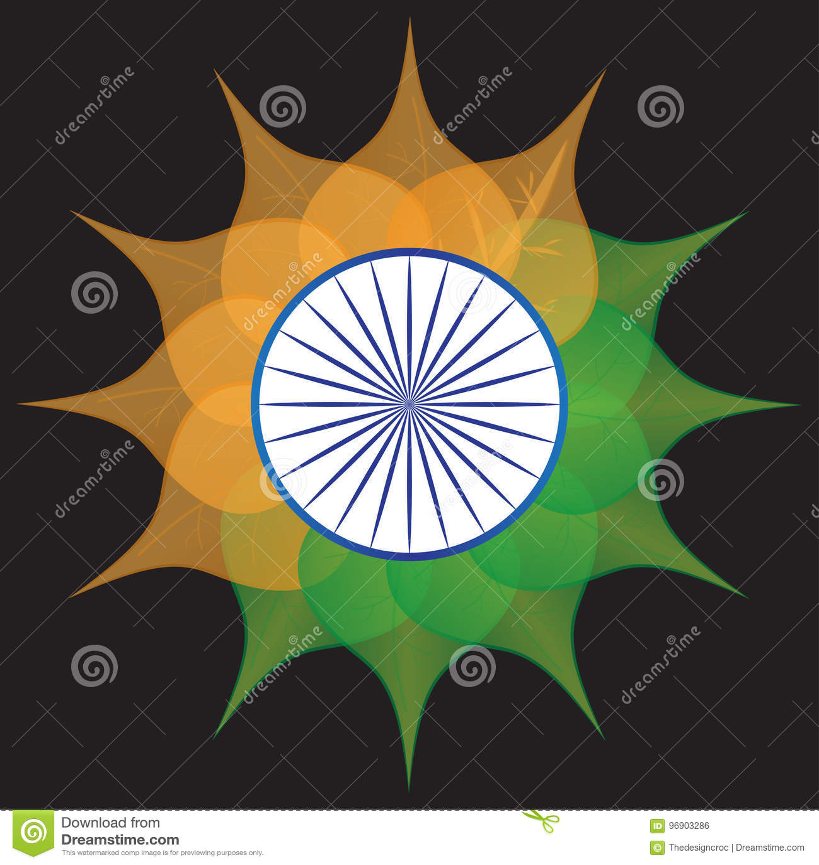 India flag stylized flower orange saffron white green blue chakra download india flag stylized flower orange saffron white green blue chakra stock vector illustration of mightylinksfo