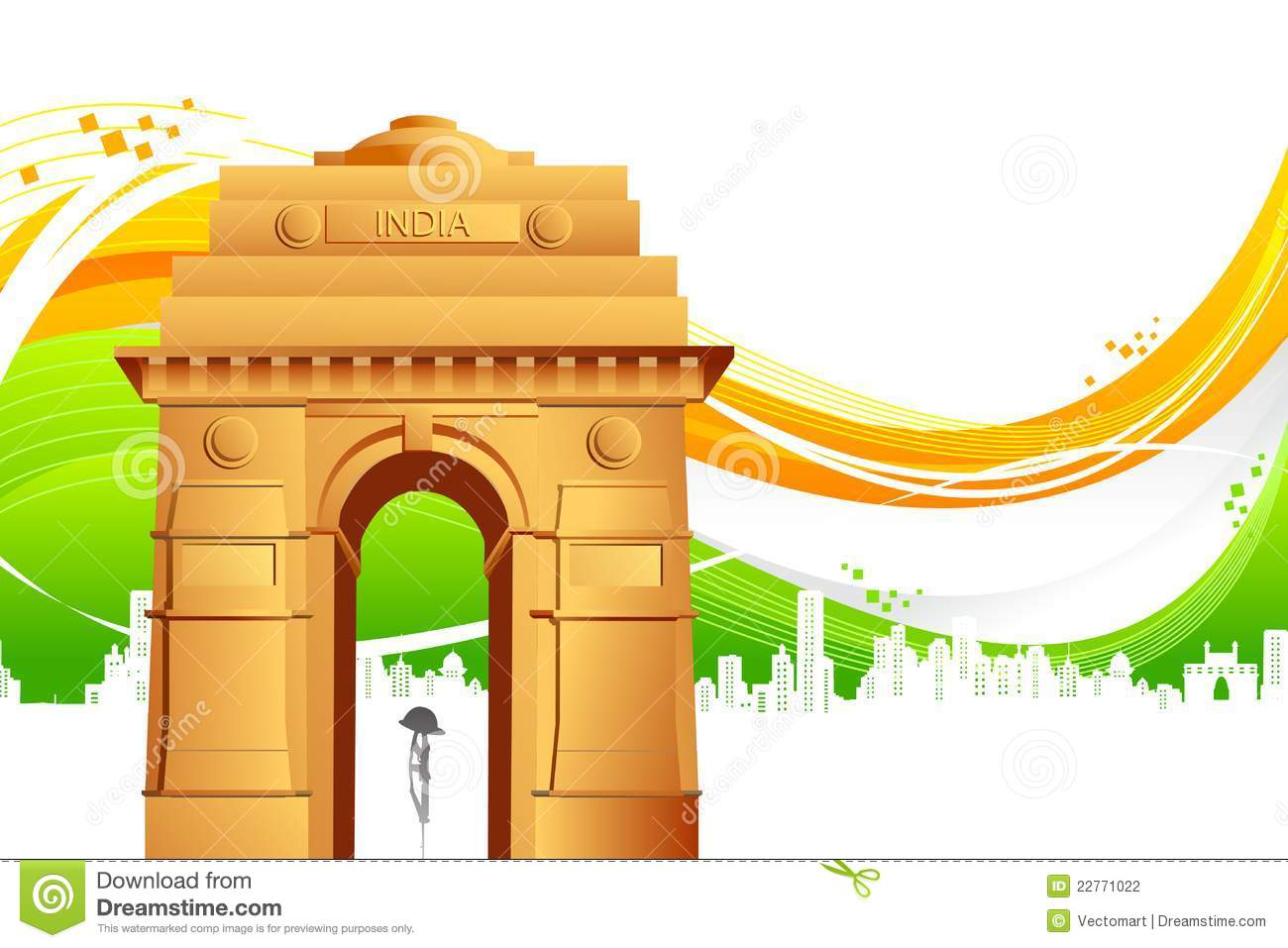 India Gate On Tricolor Background Stock Vector